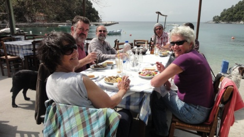 The Scramblers enjoy what looks like a remarkably abstemious lunch at the Pavlos taverna, recently voted favourite Agnontas taverna by Guardian readers
