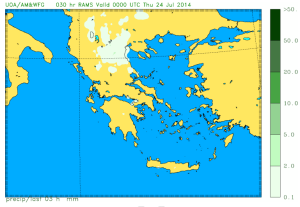 We see no storms, anywhere: the Athens Uni forecast system at midnight last night