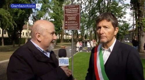 The Mayor being interviewed on the occasion of the park's opening