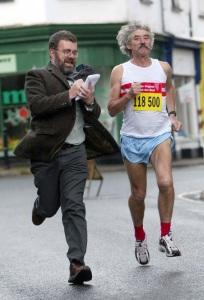 Mark in Clark Kent mode, with runner David Bedford
