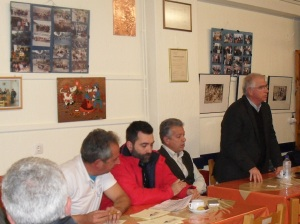NIKOS members Kostas Skouras, Michalis Fadakis, Spyros Kosmas and mayor Christos Vasiloudis