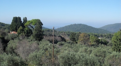 View from the Camphill site at Alikias, with Dasia and Skiathos in the distance