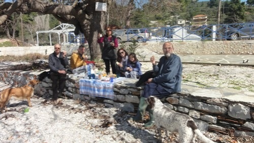 The fabled blue tablecloth, laid out at Agnontas